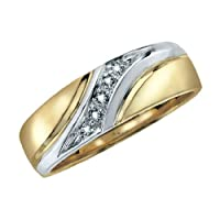 Comfort Fit Diamond Men's Wedding Band in 10K Yellow and White Gold, Size 10