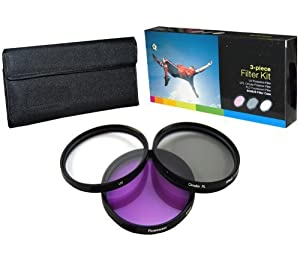 PLR Optics 52MM High Resolution 3-piece Filter Set (UV, Fluorescent, Polarizer) For The Nikon D5000, D3000, D3200, D5100, D3100, D7000, D4, D800, D800E, D600, D40, D40x, D50, D60, D70, D80, D90, D100, D200, D300, D3, D3S, D700, Digital SLR Cameras Which Have Any Of These (18-55mm, 55-200mm, 50mm) Nikon Lenses