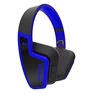 GranVela S8 Bluetooth 4.0 Headphones Foldable Wireless Headset with Mic for Running Sport or Travel,Up to 8 Hours of Battery Life,Also Comes with 3.5mm Cable-Blue