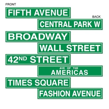 NYC Street Sign Cutouts Party Accessory (1 count) (4/Pkg)