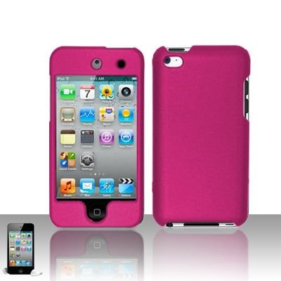 Apple Ipod Touch 4th Generation Hot Rose Pink Hard Cover Case + Bonus 5.5 inch Baby Blue Phone Cleaning Cloth