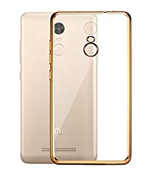 Vibhar Plain Transparent Soft Flexible Silicon TPU Slim Back Case Cover for Redmi 3s Prime - Golden