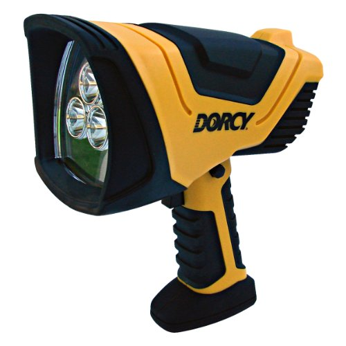 Dorcy 41-1080 Rechargeable Pistol Grip LED Spotlight with Trigger Lock Switch and AC and DC Adapters, 500-Lumens, Yellow Finish