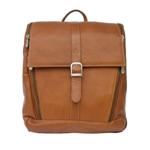B001318D72 Piel Leather Slim Computer Backpack, Saddle, One Size
