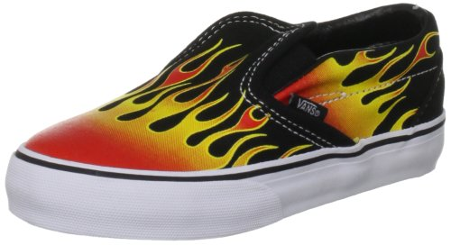 Vans Classic Slip-On Hot Rod Flame Black/Red Canvas Trainer Vlyg5Jr 2 UK Junior