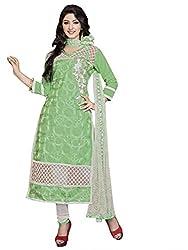 Blissta Green Embroidered Cotton Salwar Suit Dress Material(MDMST05)