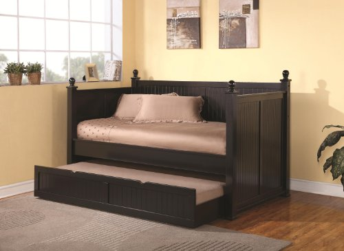 Satin Black Cottage Daybed With Trundle front-965561