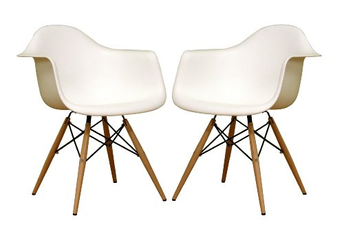 41cN2MuGjTL Baxton Studio Fiorenza White Plastic Armchair with Wood Eiffel Legs, Set of 2