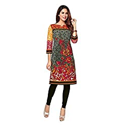 Stylish Girls Women Cotton Printed Unstitched Kurti Fabric (SG_K1001_Grey_Free Size)