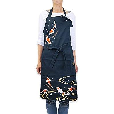 風花-綿-お洒落ロングエプロン(鶴・錦鯉) 日本製 (錦鯉)