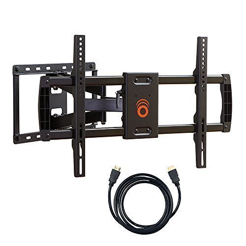 "ECHOGEAR Full Motion Articulating TV Wall Mount Bracket for most 37-70 inch LED, LCD, OLED and Plasma Flat Screen TVs w/ VESA patterns up to 600 x 400 - 16"" Extension - Includes 6' HDMI Cable - EGLF1-BK"