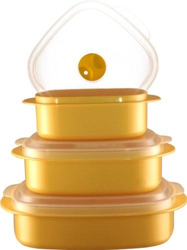 Reston Lloyd Calypso Basics 3-Piece Microwave Steamer Set, Lemon
