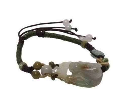 Adjustable Solid Cord with a Superbly Carved Grasshopper Centered on This Jade Bracelet