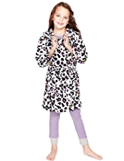 Hooded Leopard Print Dressing Gown