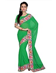 Designersareez Women Green Faux Georgette Digital Printed Border Saree With Unstitched Blouse (1602)