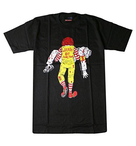おもしろ デザインTシャツ Death of Junk Food マクとケン Lサイズ ブラック urt-0011-l-blk1