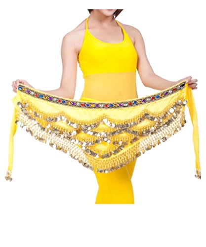 Ru Sweet Triangular Belly Dancing Hip Scarf Wrap Skirt With Gold Coins