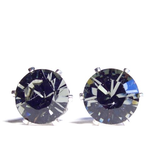 Large 925 Sterling Silver Stud Earrings set with Sparkling Black Diamond (charcoal grey) Swarovski Crystal. Gift Box. Beautiful jewellery for very special people.