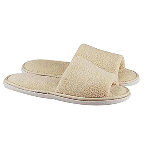 Men Women Cozy Plush Fleece Slip On Memory Foam House Slippers (Beige) (Slippers Hotel compare prices)