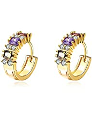 YELLOW CHIMES Oval Style Swiss Cubic Zirconia Gold Plated Clip-On Earrings For Women