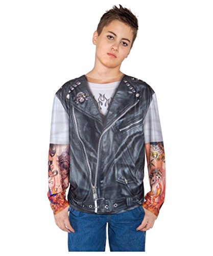[Biker Shirt Boy Costume Available in medium and large] (Biker Kid Costume)