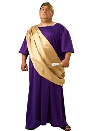 Caesar Costume Rome Greek Toga Robe Purple and Gold Theatrical Mens
