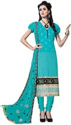 RADHE STUDIO Women's Cotton Un-Stitched Salwar Suit (RSOM KUM-8006, Blue)