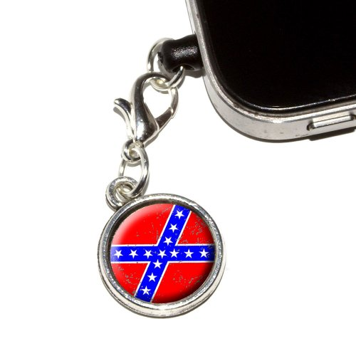 Graphics And More Confederate Southern Rebel Flag Distressed Anti-Dust Plug Universal Earphone Headset Jack Charm For Mobile Phones - 1 Pack - Non-Retail Packaging - Antiqued Silver