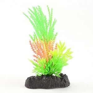 Fish Tank Decor Green Light Orange Plastic Glow Light Water Plant w Stone Base