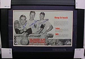Autographed Mickey Mantle, Yogi Berra and Whitey Ford Photo - Vintage Advertisement... by Sports Memorabilia