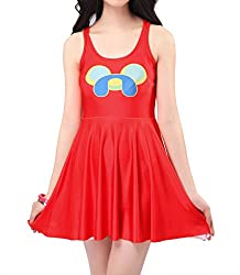 Dissa Red Smile Dog Fashion Skater Dress,Red,One Size
