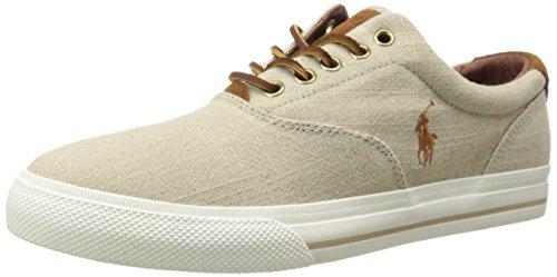 Polo Ralph Lauren Men's Vaughn Linen Sneaker, Natural, 8.5 D US