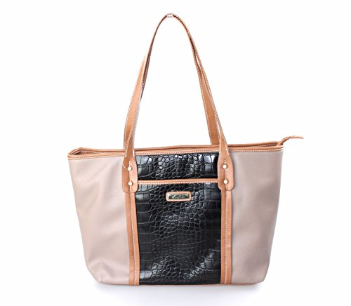 Marc Fisher Day By Day Mixed Tote Bag Light Taupe Black (Marc Fisher Day By Day Bag compare prices)