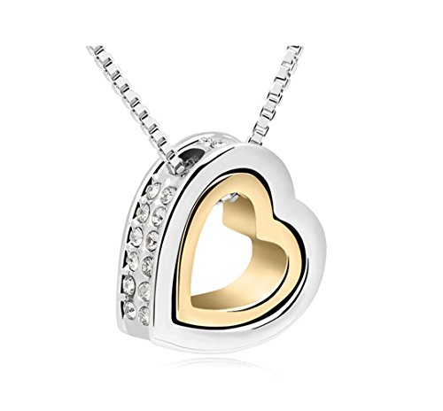 Double Heart With Clear Swarovski Cubic Zirconia Elements Crystal Pendant Necklace Fashion Jewelry For Women (Gold&Platinum Plated)