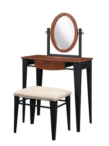 Traditional Faux Mahogany with Marquetry Vanity, Mirror and Bench
