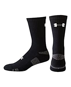 Under Armour Men's HeatGear Crew Socks (3 Pair), Black, Large