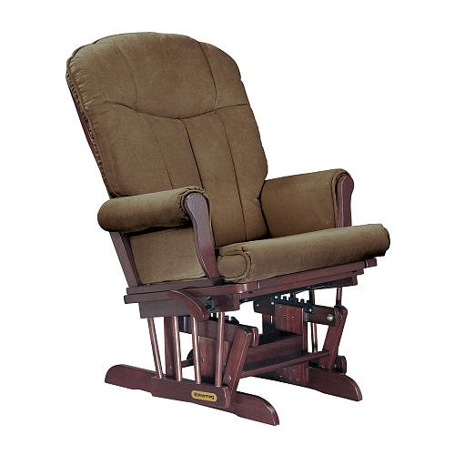 Shermag Deluxe Glider Cherry Finish With Bella Mocha Fabric front-650105