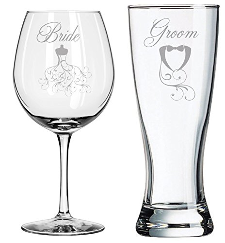 Unique Wedding Gift - Bride Groom - Couples Gifts - Wedding Dress - Toasting Glasses - Personalized Wedding Set - Wedding Shower - Engagement Gift - Bridal Shower