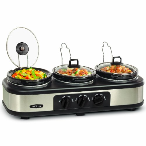 3X1.5QT Oval Triple Slow Cooker with Lid Rests