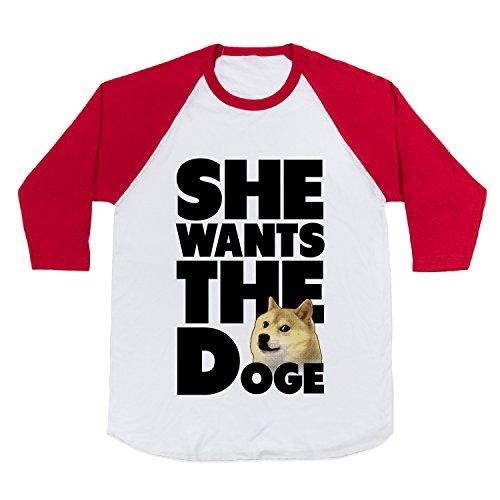 Cotton She Wants The Doge Baseball Tee T-Shirt (White/Red, Medium)
