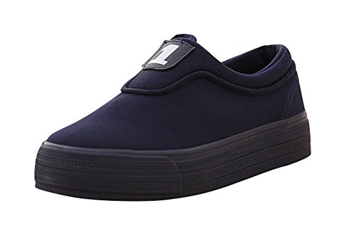 T&Mates Womens Comfort Slip-on Low Cut Pure Color Canvas Loafer Shoes (7 B(M)US,darkblue) (Fancy Dress Boxing Gloves)