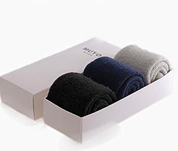 (スカイシイ) skySea 極厚 ウール 綿 羊毛 靴下 ソックス 厚手 暖かい 冷え性 黒 3点セット