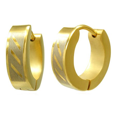 Stainless Steel Gold Huggie Earrings for Men and Women