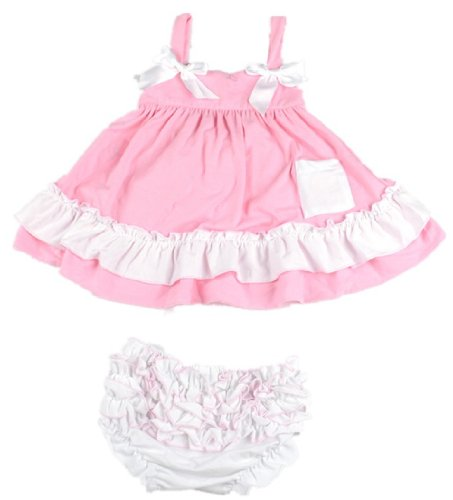 Masione Fashion Baby Toddlers Cute Soft Cotton Lovely Dress+Underpants Outfit (Size S, Pink) front-644093