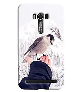 Blue Throat Bird On Hand Printed Designer Back Cover/Case For Asus Zenfone 2 (ZE550KL)