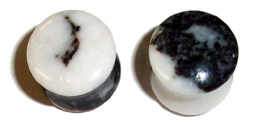 Black and White Zebra Jasper Stone Plugs 00 gauge