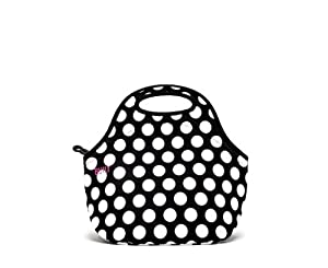 BUILT Neoprene Gourmet Getaway Lunch Tote, Big Dot, Black and White