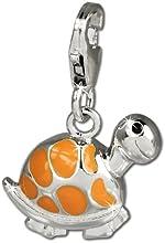 Charm tortuga SilberDream naranja 925 de plata de ley colgante para pulsera cadena pendientes FC655