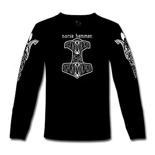 """T-Shirt a maniche lunghe """"Norse Hammer-Mjölnir"""" S-XXL Nero  nero"""