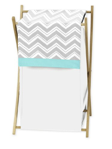 Best Prices! Baby/Kids Clothes Laundry Hamper for Turquoise and Gray Chevron Zig Zag Bedding by Swee...
